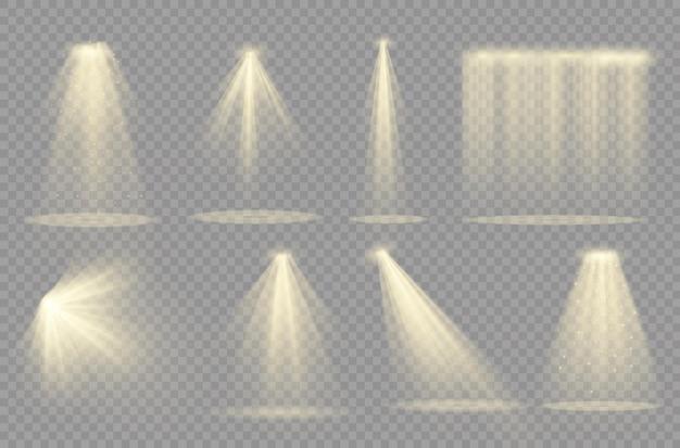 Projecteur. effet de lumière effet de lumière transparent blanc isolé. conception d'élément abstrait effet spécial.
