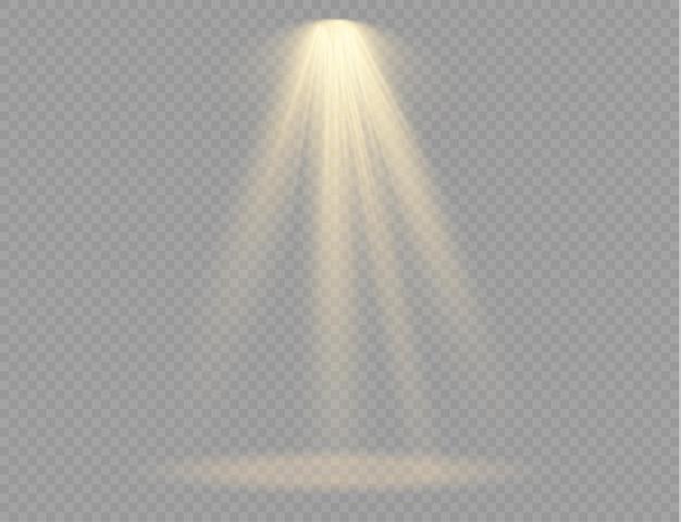 Projecteur isolé. effet de lumière avec des rayons dorés