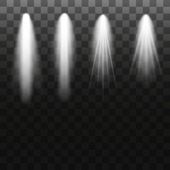 Projecteur isolé sur fond transparent. effet de lumière vectorielle