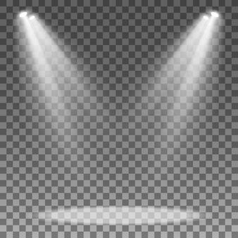 Projecteur isolé sur fond transparent. projecteur de podium. effet lumineux.