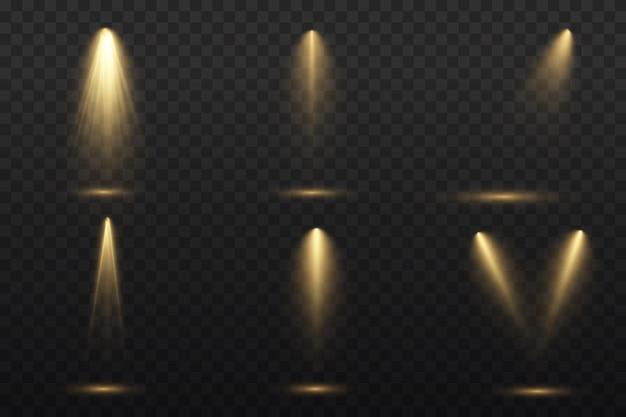 Le projecteur jaune brille. lumière d'une lampe ou d'un projecteur.