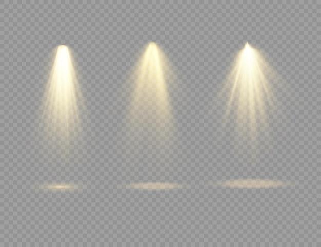 Le projecteur jaune brille sur la scène lumière à usage exclusif lentille effet de lumière flash lumière abstraite d'une lampe ou d'un projecteur scène éclairée podium sous le projecteur vecteur