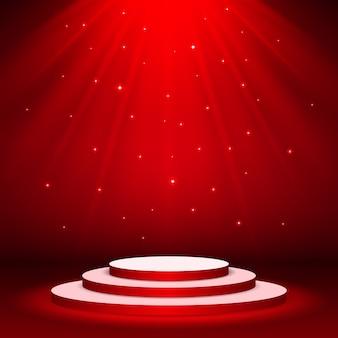 Projecteur de scène illuminé sur scène avec éclairage bleu