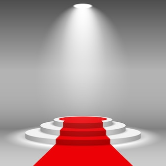 Projecteur de scène illuminé avec tapis rouge