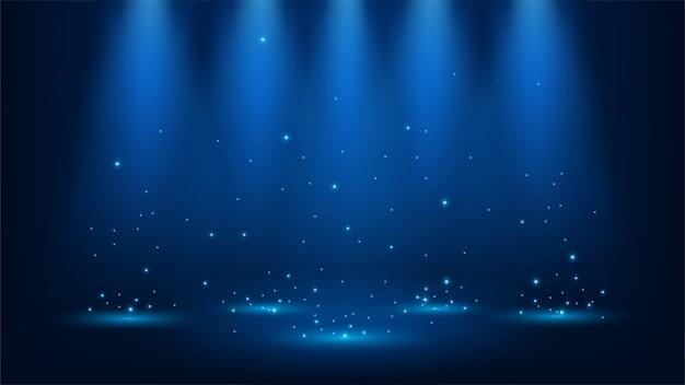 Projecteurs bleus brillants d'étincelles