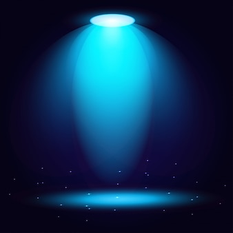 Les projecteurs bleus brillent sur un fond transparent