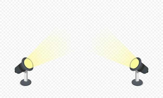 Les projecteurs brillent du bas vers le haut de la scène dans un style plat isolé sur fond blanc