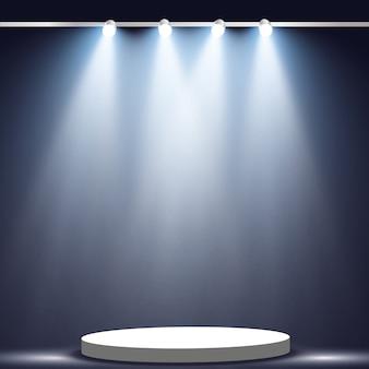 Projecteurs. effets de lumière de scène. effet de lumière éclatante.
