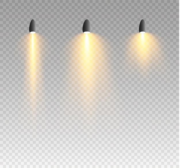 Projecteurs effets de lumières rougeoyantes isolés.
