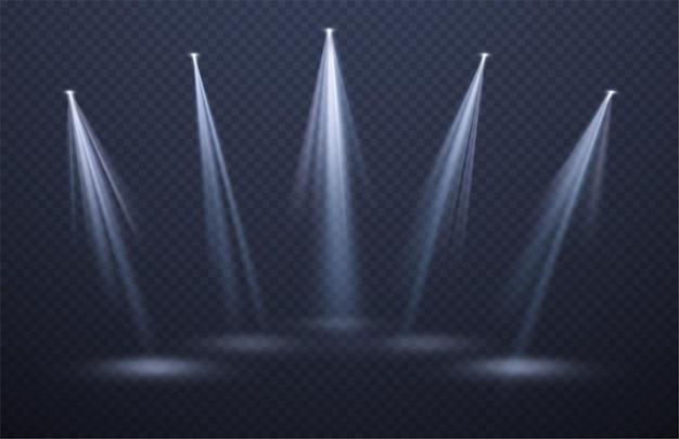Projecteurs faisceaux lumineux isolés sur fond noir