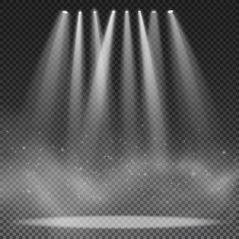 Projecteurs isolés sur fond transparent. projecteur pour le spectacle. effet lumineux. fumée avec des particules incandescentes.