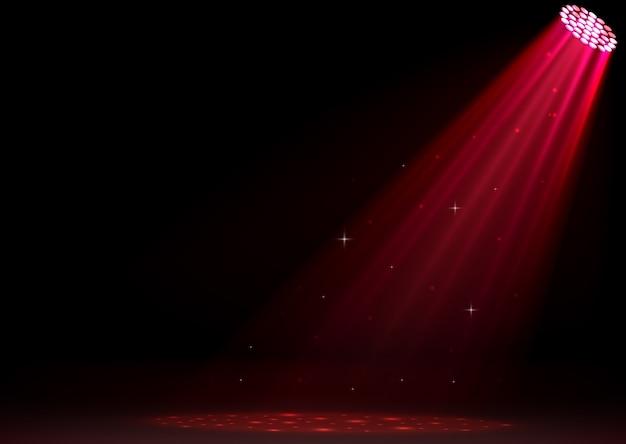 Projecteurs rouges sur fond sombre