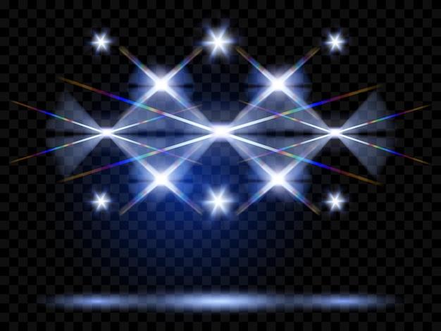 Projecteurs de vecteur. illumination de la scène. effets de lumière transparents. transparence uniquement en format vectoriel