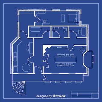 Projet de croquis de maison avec blueprint