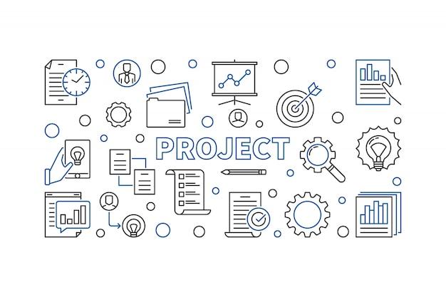 Projet illustration de ligne de concept horizontal.