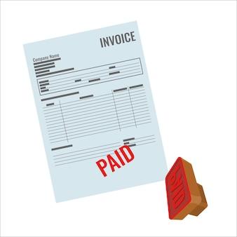 Projet de loi avec timbre payé rouge isolé sur blanc