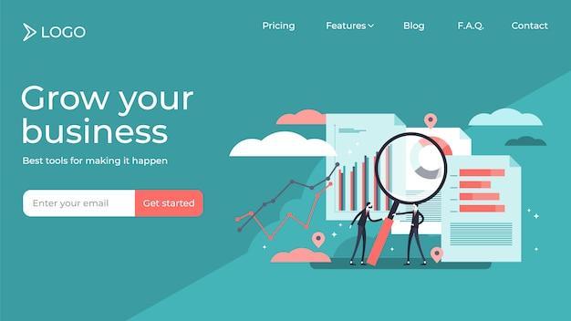 Projet de recherche d'entreprise, personnes minuscules plates vector illustration design de modèle de page de destination