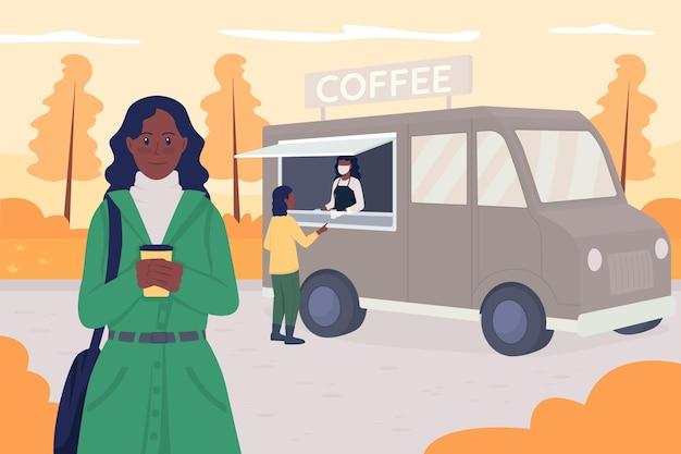 Promenade en illustration vectorielle de couleur plate automne