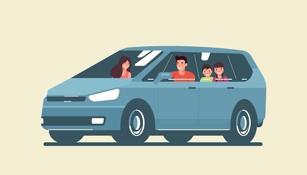 Promenades en famille dans une voiture monospace isolée. illustration vectorielle