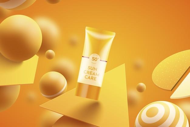 Promo de bouteille de crème solaire réaliste