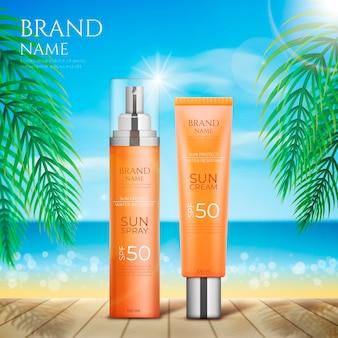 Promo de bouteille de produit de protection solaire