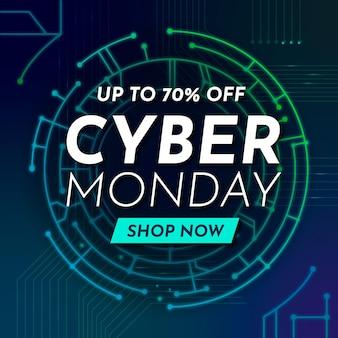 Promo de cyber lundi de technologie réaliste