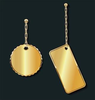 Promo étiquettes de vente vide or sur la collection de la chaîne d'or