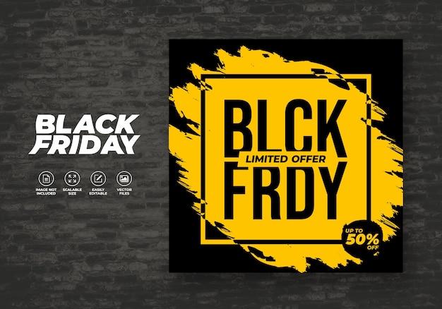 Promo de fond noir vendredi pour modèle de bannière de réduction post feed sur les médias sociaux