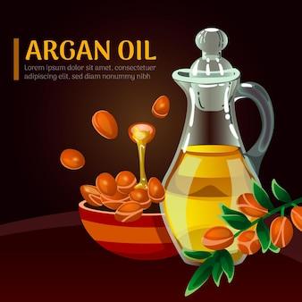 Promo d'huile d'argan réaliste