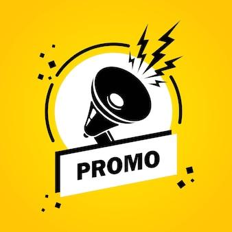 Promo. mégaphone avec bannière de bulle de discours promo. haut-parleur. label pour les affaires, le marketing et la publicité. vecteur sur fond isolé. eps 10