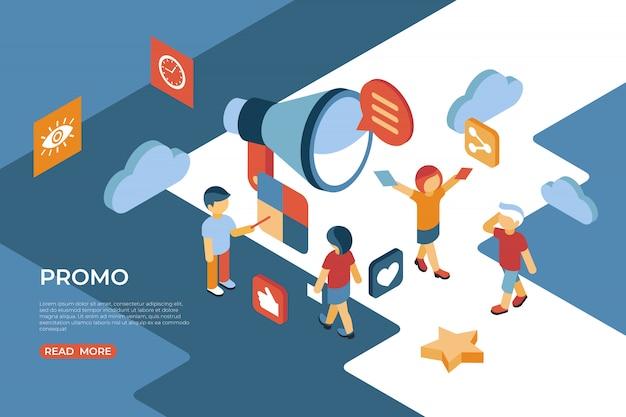 Promo avec des personnes interagissant avec une page de destination isométrique