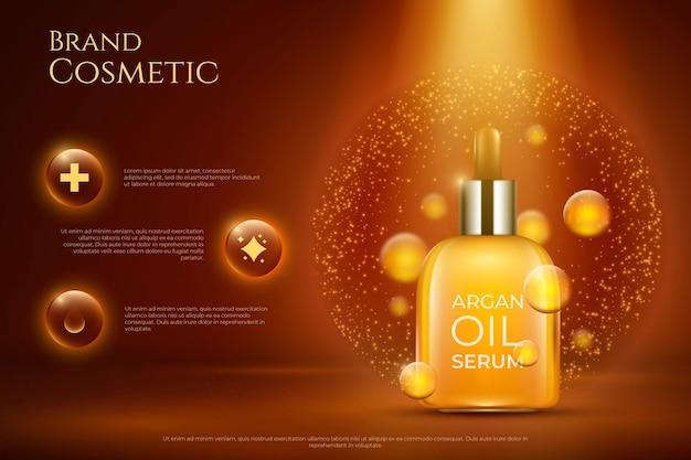 Promo de sérum capillaire à l'huile d'argan réaliste