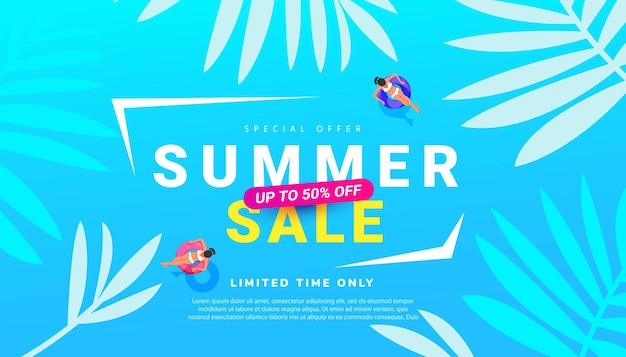 Promo soldes d'été avec accessoires de plage aux feuilles tropicales