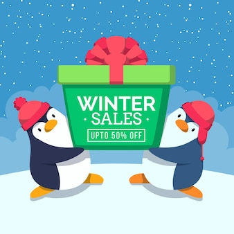 Promo de soldes d'hiver design plat avec des pingouins