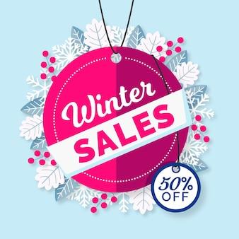 Promo de soldes d'hiver design plat avec remise