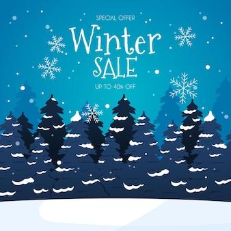 Promo de soldes d'hiver dessinés