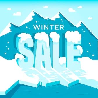 Promo de soldes d'hiver avec montagne dessinée
