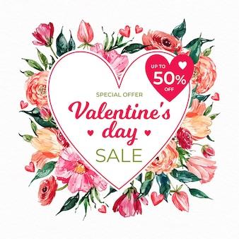 Promo de vente pour l'événement de la saint-valentin à l'aquarelle