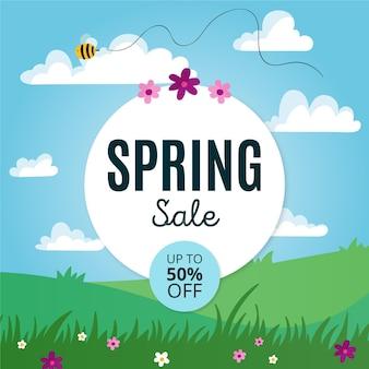 Promo de vente de printemps dessiné à la main
