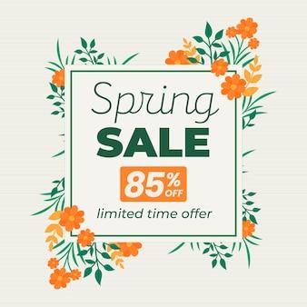 Promo vente printemps plat illustrée
