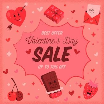 Promo de vente de saint valentin dessiné à la main