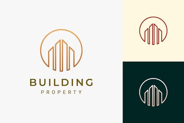Promoteur immobilier ou logo immobilier de luxe et de forme futuriste