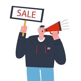 Promoteur masculin annonçant une vente tenant une affiche qui dit vente et parlant dans un mégaphone