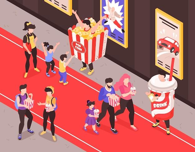 Promoteurs de restauration rapide en costumes de collations et de boissons non alcoolisées approchant les clients sur l'illustration de la composition isométrique du tapis rouge