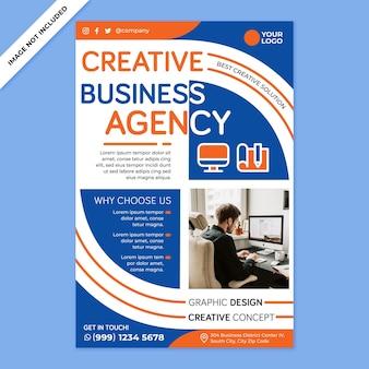 Promotion de l'affiche de l'agence de création dans un style design plat