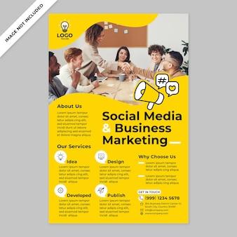 Promotion d'affiches d'agence de marketing d'entreprise et de médias sociaux dans un style design plat