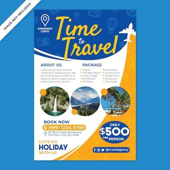 Promotion d'affiches d'agence de voyages dans un style design plat