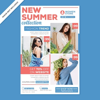 Promotion d'affiches de mode féminine dans un style design plat