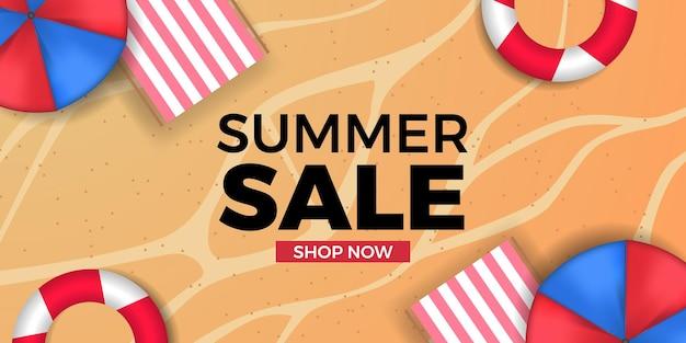 Promotion de bannière d'offre de vente d'été avec la côte de plage de sable