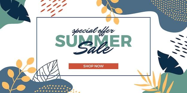 Promotion de bannière d'offre de vente d'été avec des feuilles abstraites tropicales décoration d'ornement de memphis